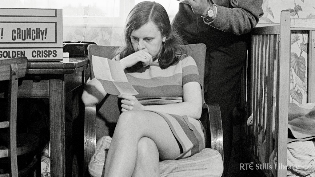 Bernadette Devlin being filmed by RTÉ cameraman Bestick Williams on 25 April 1969 for RTÉ Irish language current affairs programme 'Féach'. © RTÉ Stills Library 2143/001