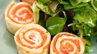 Smoked salmon rolls - This makes a delicious and quirky starter for a dinner party, but is also suitable for children's school lunchboxes or picnics. Although the recipe suggests pancakes, you could do something like this using tortilla wraps instead. They are also a fantastic canapé to serve with drinks.