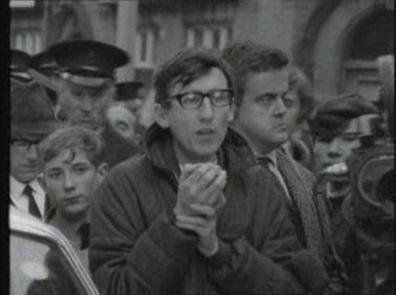 Fred Taggart addresses a student demonstration in Belfast on 9 October 1968.