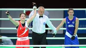 Winner all right - The Bray lightweight has her arm raised in victory at the end of the bout