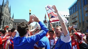Rival fans on the streets of Munich before the game