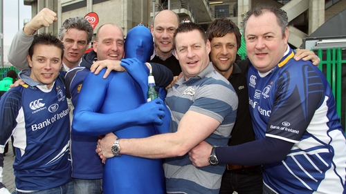 Leinster fans gear up for the game outside Twickenham