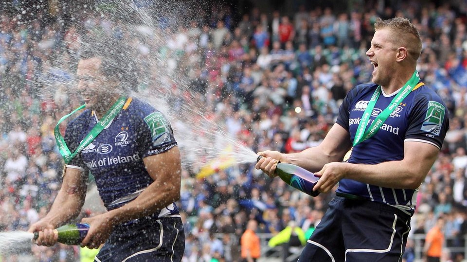 Isa Nacewa and Jamie Heaslip celebrate
