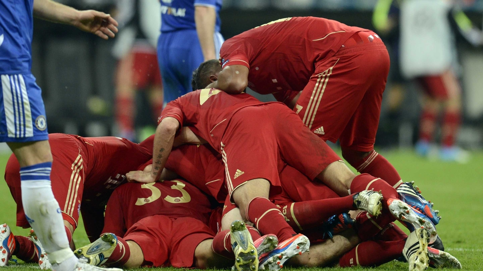 Bayern celebration after they scored the opening goal