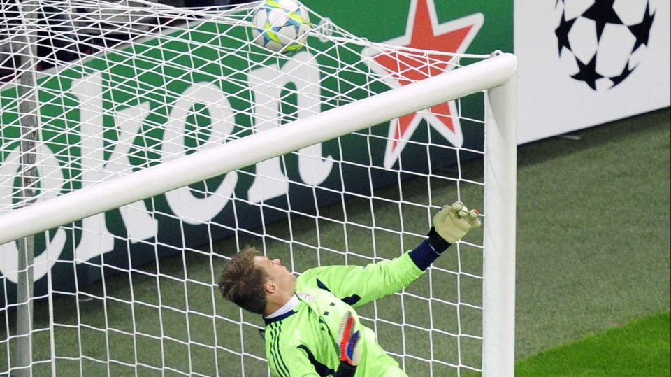 Manuel Neuer can only watch as Drogba's header flew into the net to tie up the match