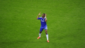 Drogba celebrates after his equalising goal on 88 minutes