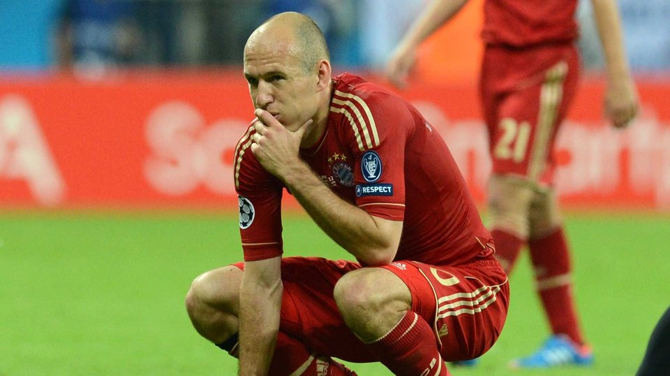 Arjen Robben in a state of shock after his penalty miss