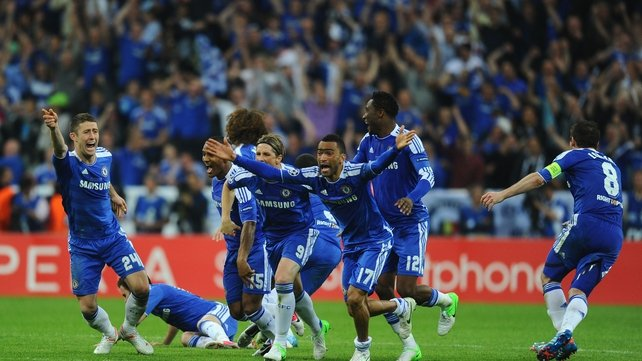 Chelsea celebrate winning the Champions League