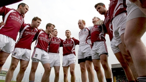 Westmeath team in a huddle before their Leinster SFC game with Louth