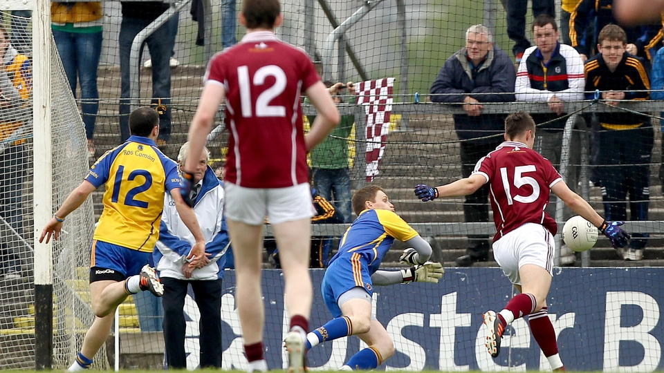 Mark Hehir blasts homes Galway's first goal against Roscommon