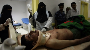 An injured soldier is treated in a Sanaa hospital