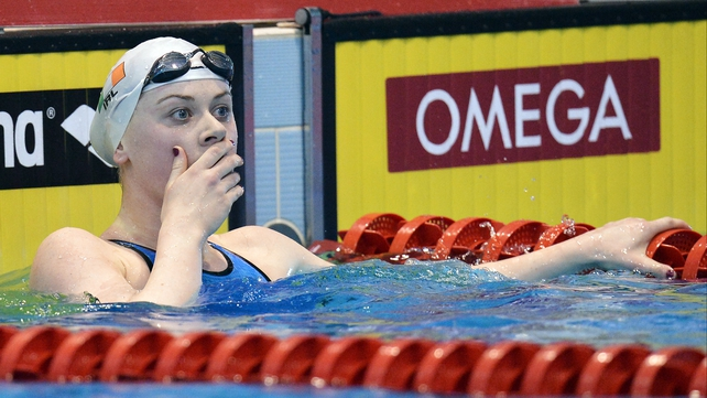 Sycerika McMahon shows her surprise and delight after realising she had achieved Olympic standard in the 100 breaststroke.