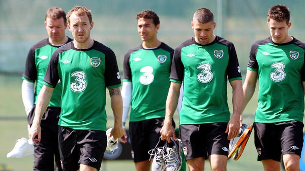 Aidan McGeady (second left) won't be giving up his place in the Republic of Ireland team without a battle