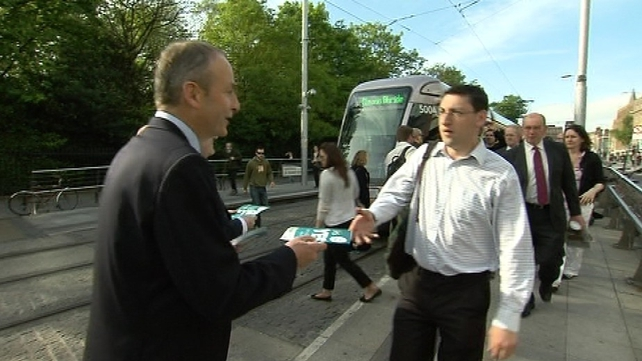 Micheál Martin handed out leaflets in Dublin this morning