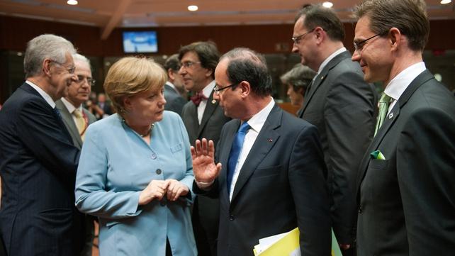 Merkel, Monti and Hollande attend the EU meeting