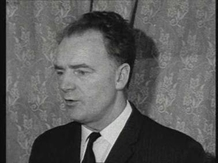 Michael Keogh of the Nationalist Party speaking to RTÉ News reporter Donal Kelly on 12 January 1969.