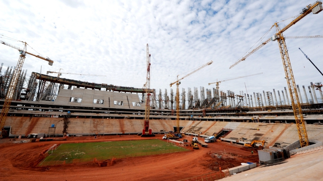 Picture taken in May of Brasilia's National Stadium which is under construction for World Cup 2014