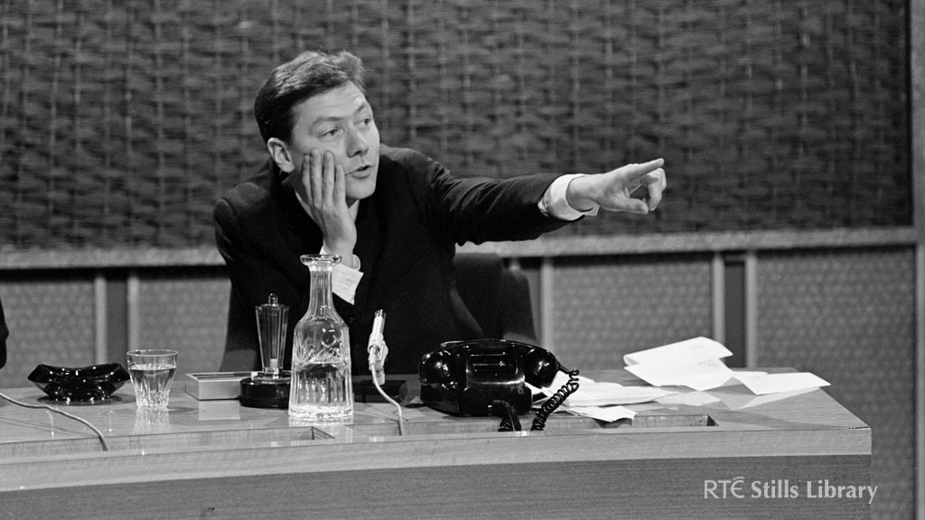 Gay Byrne presenting 'The Late Late Show' in May 1967.