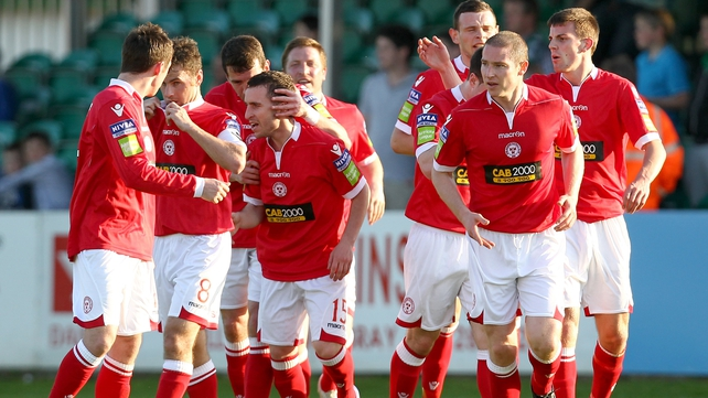 Shelbourne players celebrate Barry Clancy's goal
