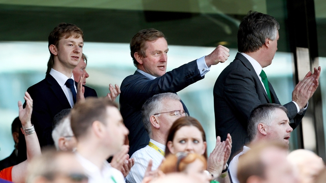 Best mates - Ireland leaders Enda Kenny and John Delaney enjoying the views down Lansdowne Road way