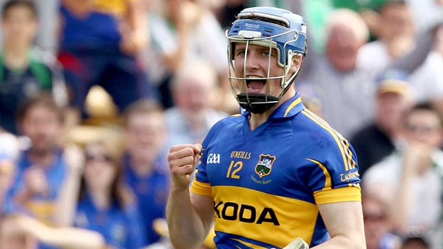 Pa Bourke's celebrates scoring a goal for Tipp in their dramatic match