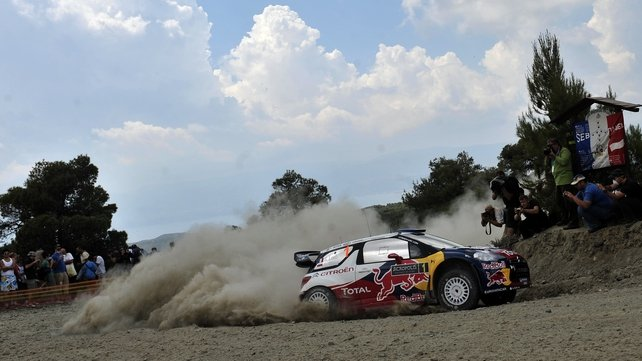 A punctured tire couldn't stop Sebastien Loeb claiming a third Acropolis Rally