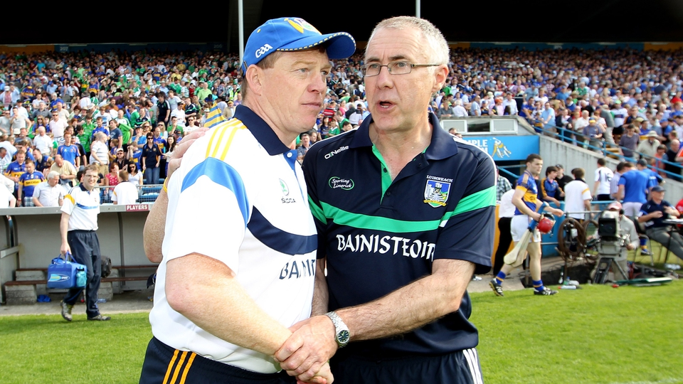 Tipperary's Declan Ryan and Limerick's John Allen at the final whistle in Thurles