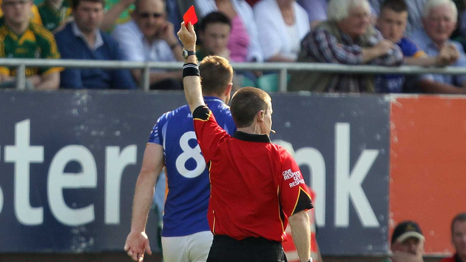 Wicklow's James Stafford was red-carded during their five-point loss