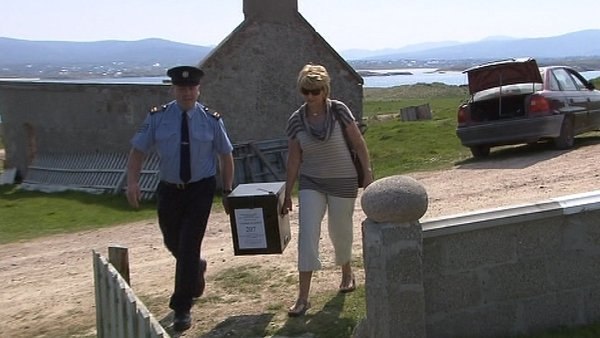 The ballot box is delivered to Gola island