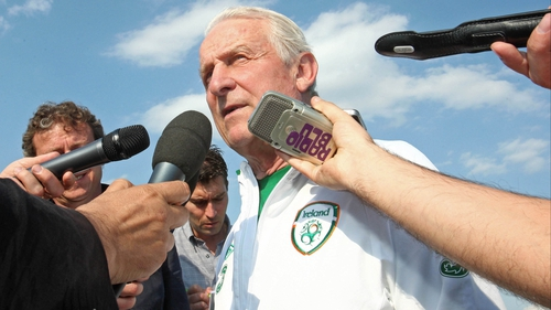 Giovanni Trapattoni addresses the 'hard-working' journalists in the spa town of Montecatini