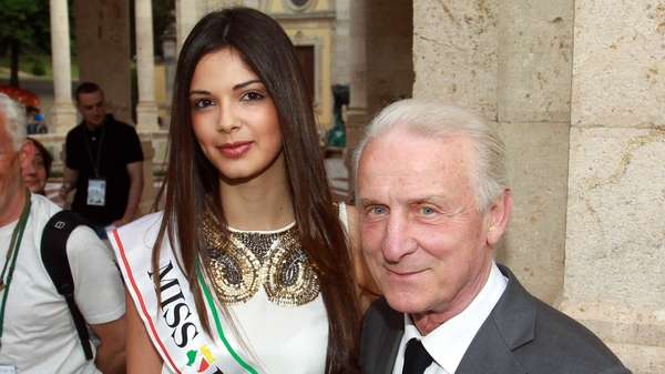 Giovanni Trapattoni, pictured with Miss Italy, Stefania Bivone, and his Republic of Ireland squad were given a very warm greeting in Montecatini
