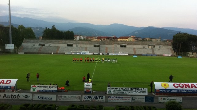 The Republic of Ireland line up against US Pistoiese in the Stadio Marcello Melani