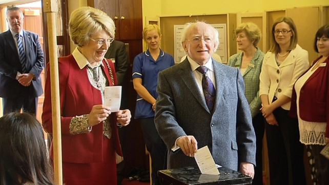 President Michael D Higgins and Sabina voted earlier today