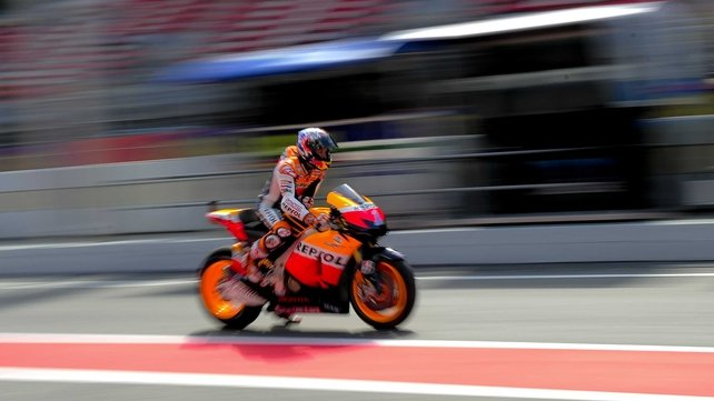 Australian Casey Stoner leaves the pits at the Catalunya racetrack in Montmelo