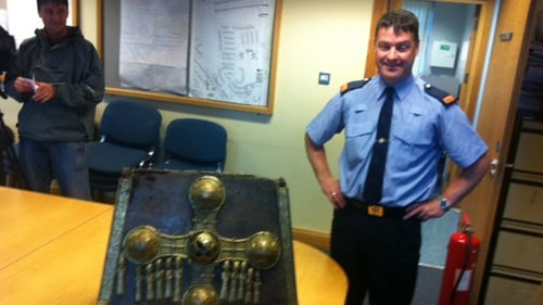 Inspector Kieran Keyes poses with the recovered St Manchan's Shrine (Pic: Ciaran Mullooly)