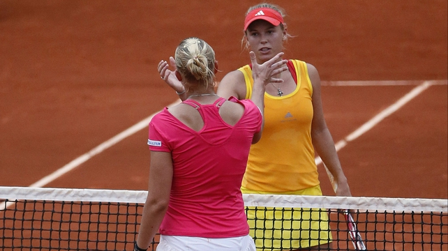 Caroline Wozniacki was beaten by Kana Kanepi