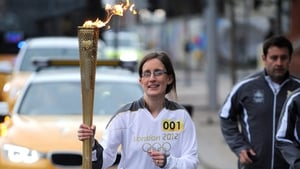 Karen Marshall was the first torch-bearer in the Northern Ireland relay