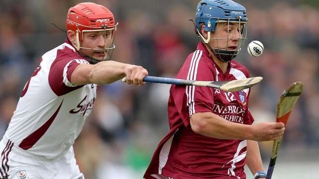 Galway's Iarla Tannian tries to dispossess Paul Greville of Westmeath