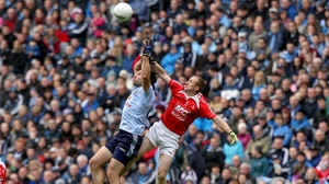 Dublin's Bryan Cullen and Ray Finnegan of Louth contest a high ball