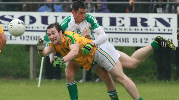 Leitrim's Fabian McMorrow gets the ball away