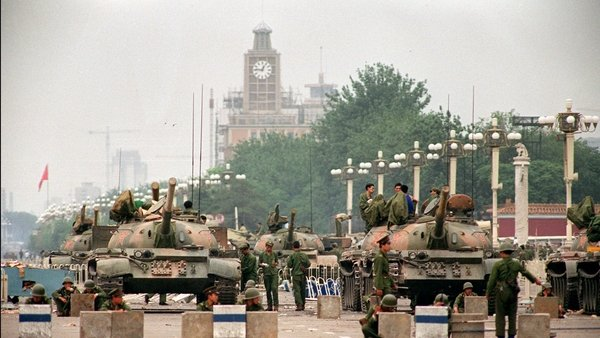 Soldiers take position near Tiananmen Square in 1989
