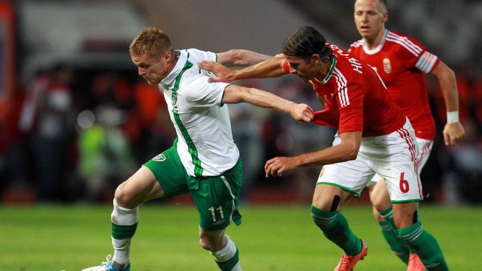 Damien Duff had a quiet night on the wing