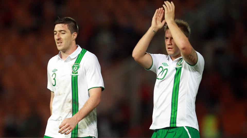 The Irish players applauded supporters at the end of the game