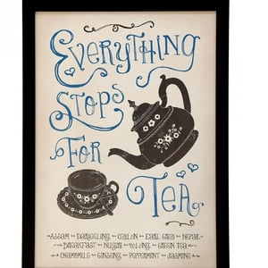 Vintage Everything Stops for Tea Print Wall Art; €18.50 from Cotswold Trading