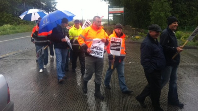 Picket on Bord na Móna peat briquette factory in Derrinlough, Co Offaly