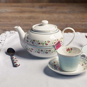Tea rose stripe blue teapot;€36 Tea rose stripe blue trio gift set includes teacup, saucer and side plate; €18 from Cath Kidston