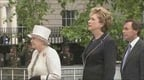 Queen Elizabeth, President McAleese and Minister for Defence Alan Shatter at the Garden of Remembrance.