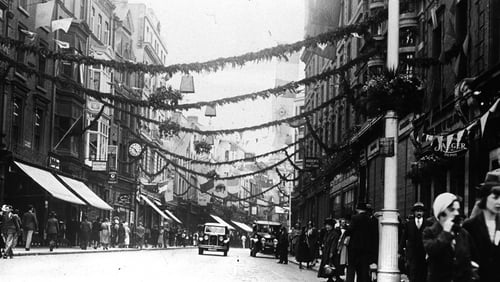 Flags and bunting along Grafton Street in 1932