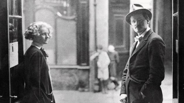 Joyce pictured with Sylvia Beach of Shakespeare & Co who first published the complete Ulysses