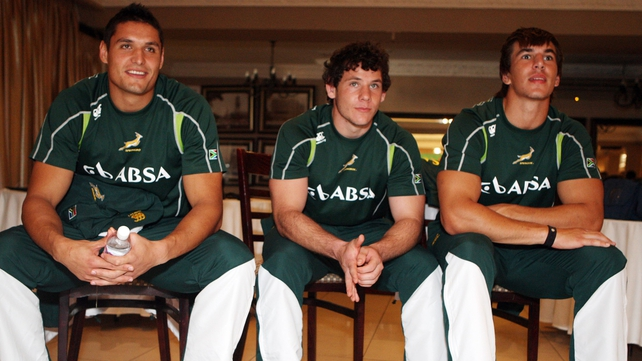 Eben Etzebeth, Juandre Kruger and Marcell Coetzee attend the team announcement at Kashmir